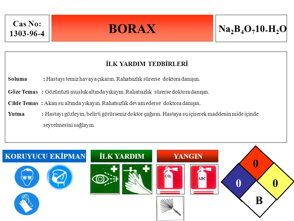 BORAX B Na2B4O710*H2O İLK YARDIM TEDBİRLERİ Cas No: 1303-96-4