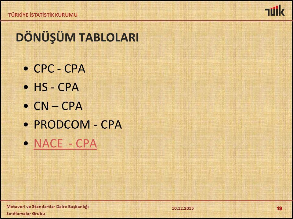 DÖNÜŞÜM TABLOLARI CPC - CPA HS - CPA CN – CPA PRODCOM - CPA NACE - CPA