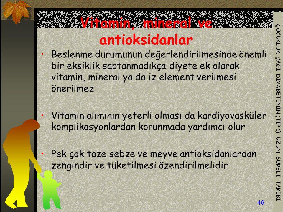 Vitamin, mineral ve antioksidanlar