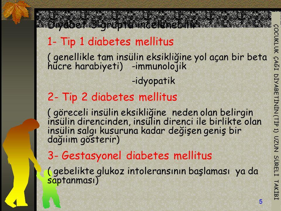 Diyabet 3 grupta incelenebilir: 1- Tip 1 diabetes mellitus