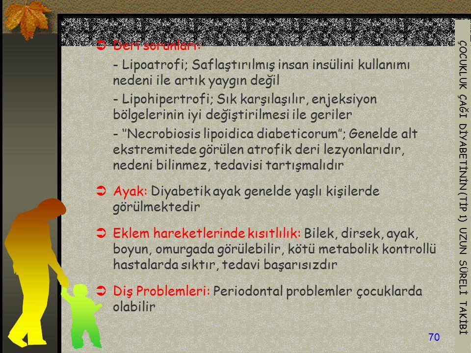 Deri sorunları: - Lipoatrofi; Saflaştırılmış insan insülini kullanımı nedeni ile artık yaygın değil.