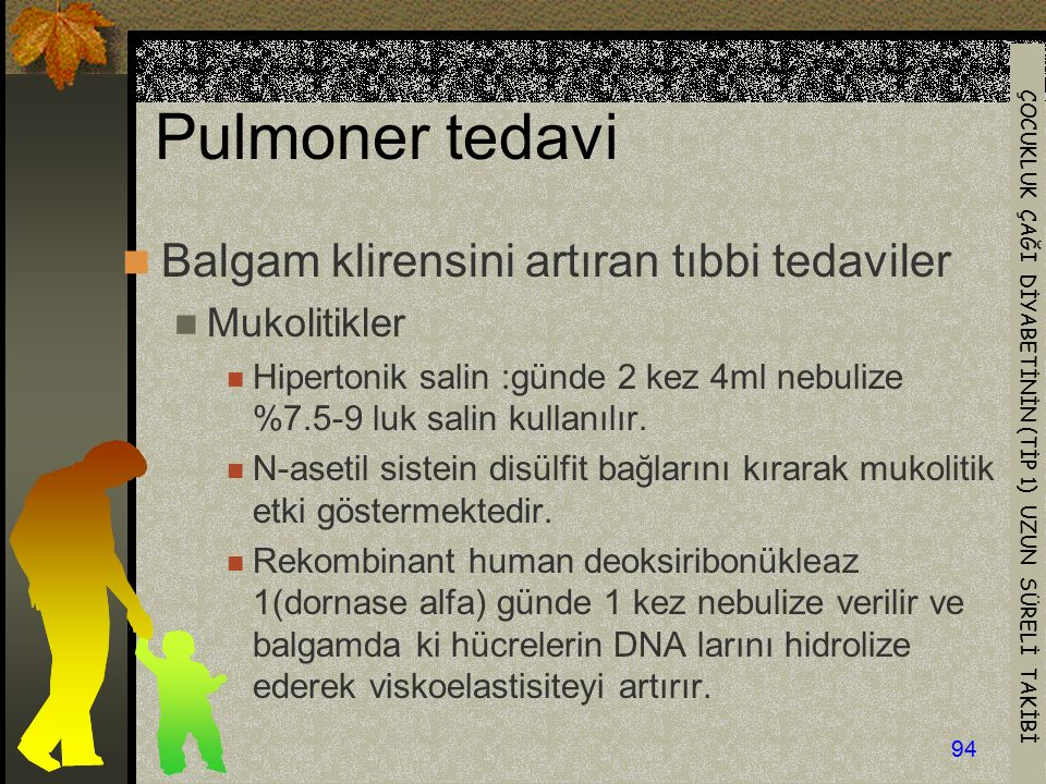 Pulmoner tedavi Balgam klirensini artıran tıbbi tedaviler Mukolitikler