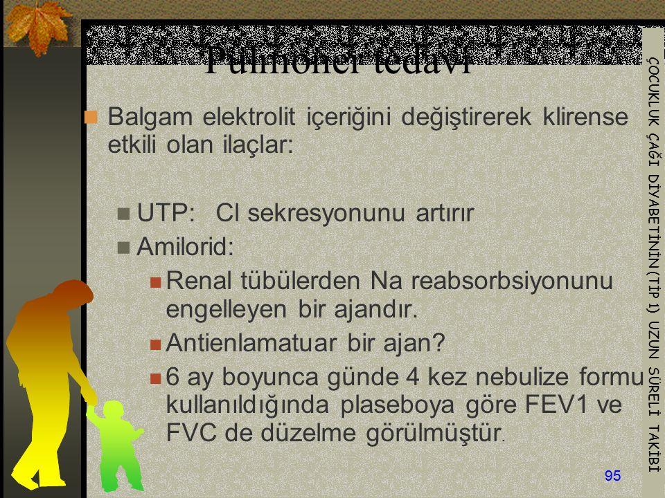 Pulmoner tedavi Balgam elektrolit içeriğini değiştirerek klirense etkili olan ilaçlar: UTP: Cl sekresyonunu artırır.