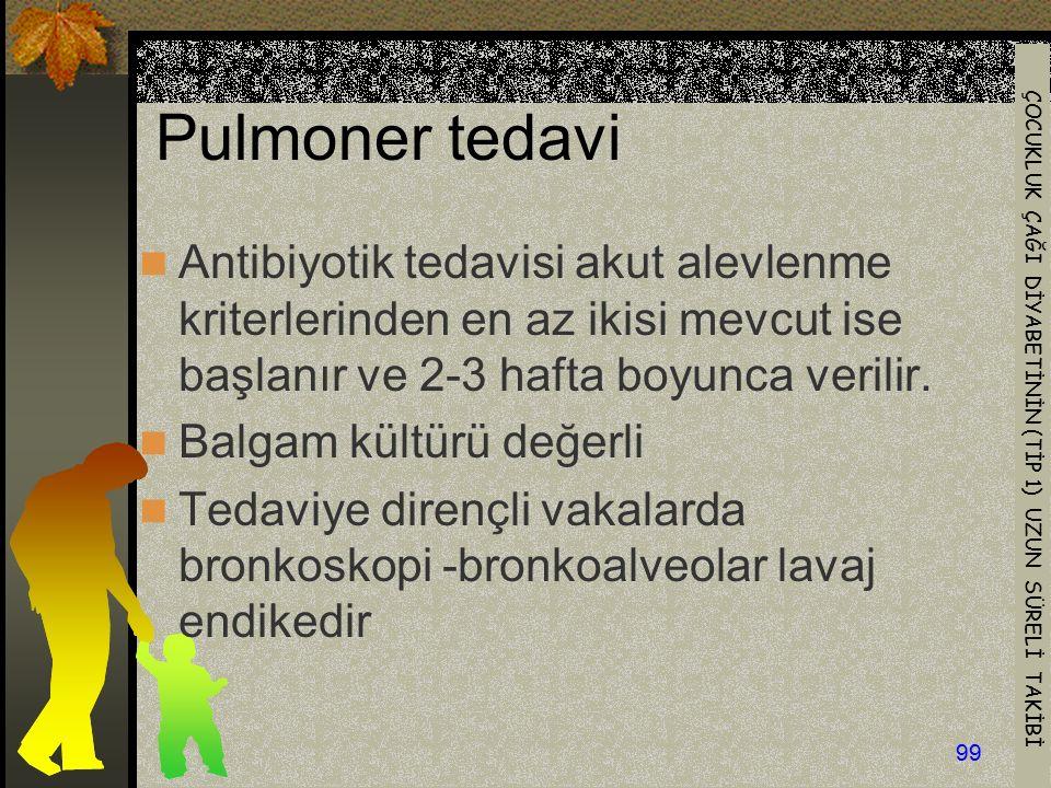Pulmoner tedavi Antibiyotik tedavisi akut alevlenme kriterlerinden en az ikisi mevcut ise başlanır ve 2-3 hafta boyunca verilir.