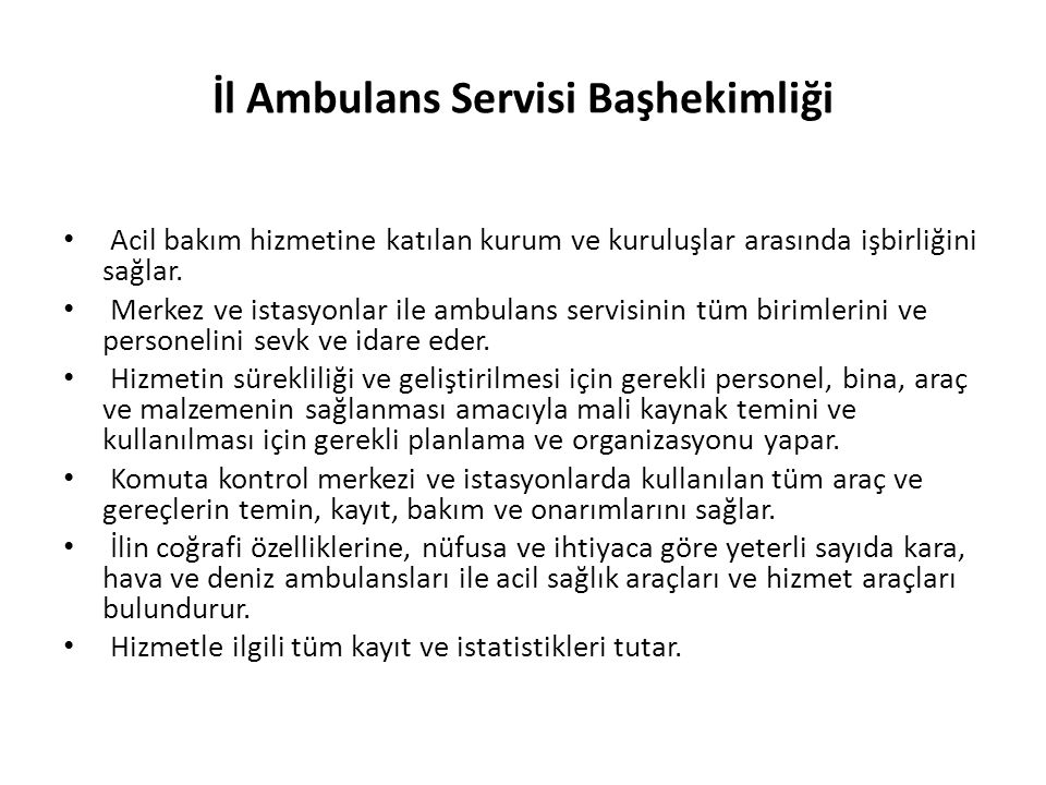 İl Ambulans Servisi Başhekimliği