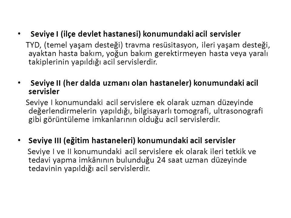 Seviye I (ilçe devlet hastanesi) konumundaki acil servisler