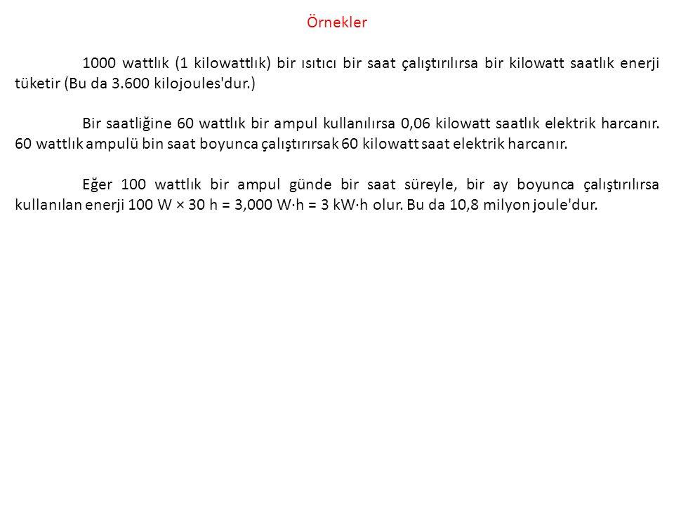 Örnekler 1000 wattlık (1 kilowattlık) bir ısıtıcı bir saat çalıştırılırsa bir kilowatt saatlık enerji tüketir (Bu da 3.600 kilojoules dur.)