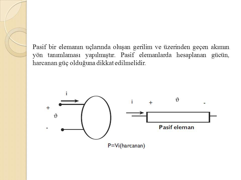 Pasif bir elemanın uçlarında oluşan gerilim ve üzerinden geçen akımın yön tanımlaması yapılmıştır.