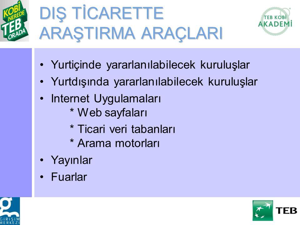 DIŞ TİCARETTE ARAŞTIRMA ARAÇLARI