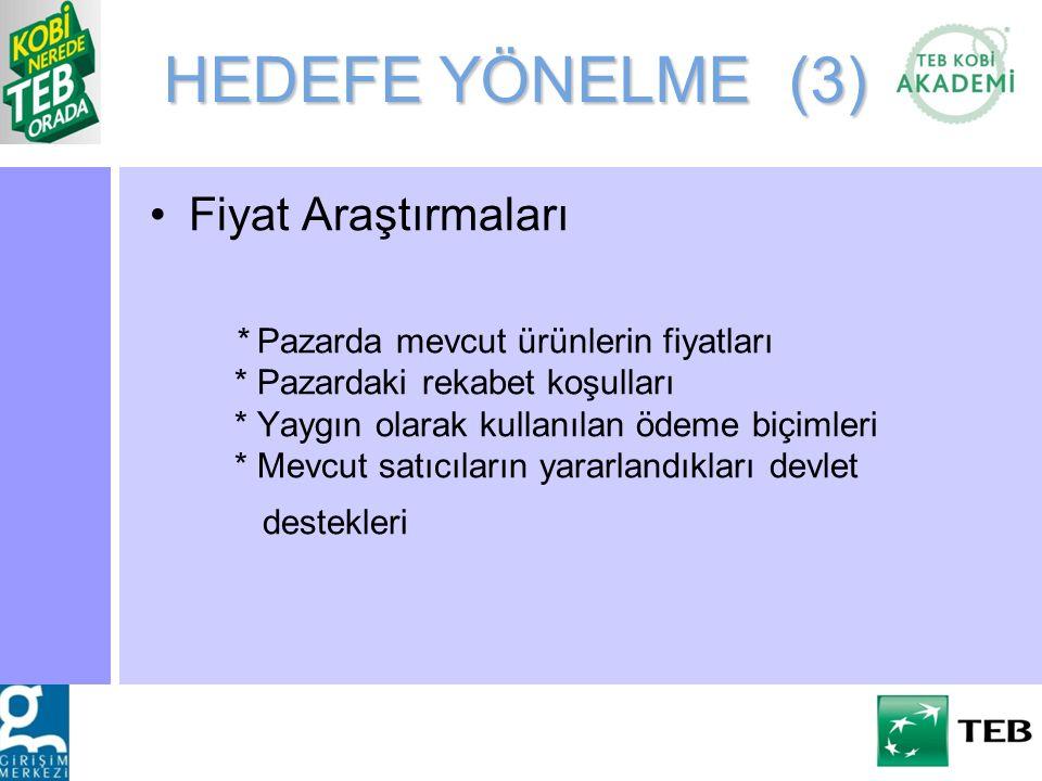 HEDEFE YÖNELME (3) Fiyat Araştırmaları