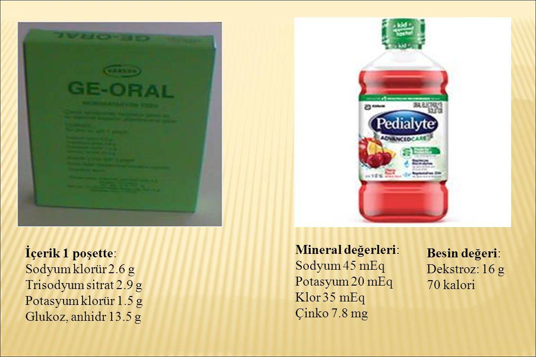 Mineral değerleri: Sodyum 45 mEq. Potasyum 20 mEq. Klor 35 mEq. Çinko 7.8 mg. İçerik 1 poşette: