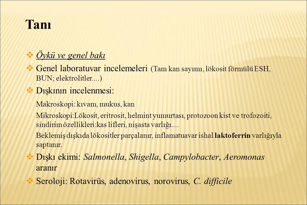 Tanı Öykü ve genel bakı. Genel laboratuvar incelemeleri (Tam kan sayımı, lökosit förmülü ESH, BUN; elektrolitler....)
