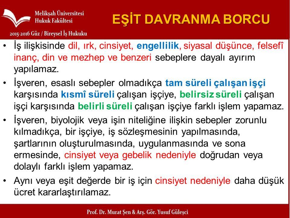EŞİT DAVRANMA BORCU