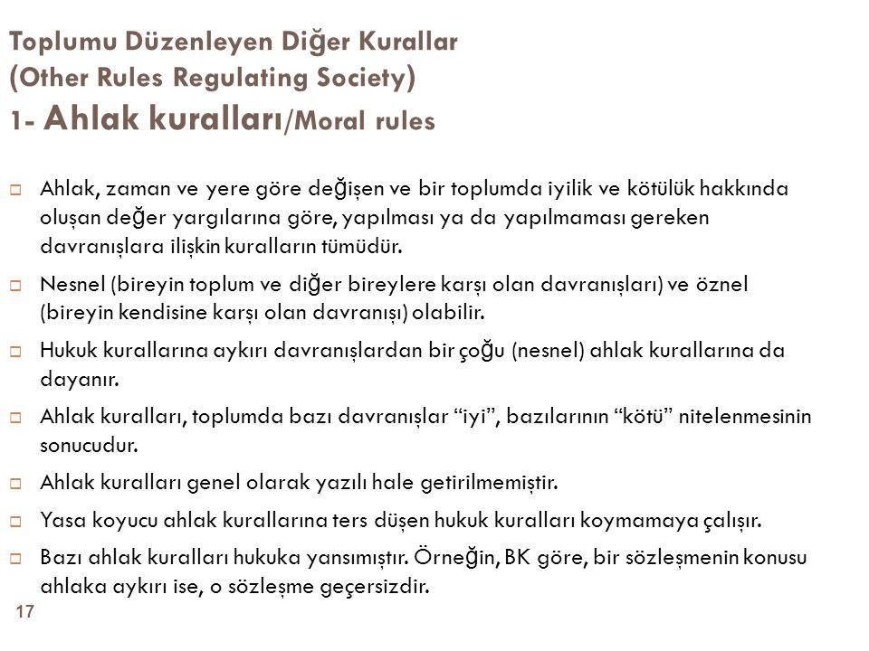 Toplumu Düzenleyen Diğer Kurallar (Other Rules Regulating Society) 1- Ahlak kuralları/Moral rules