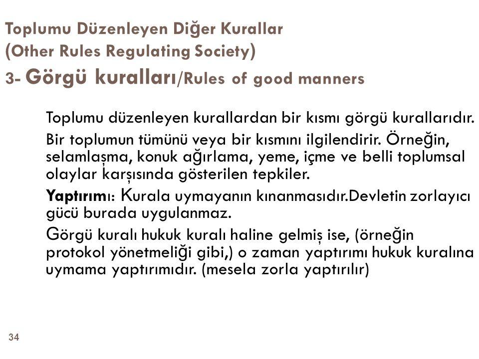 Toplumu Düzenleyen Diğer Kurallar (Other Rules Regulating Society) 3- Görgü kuralları/Rules of good manners