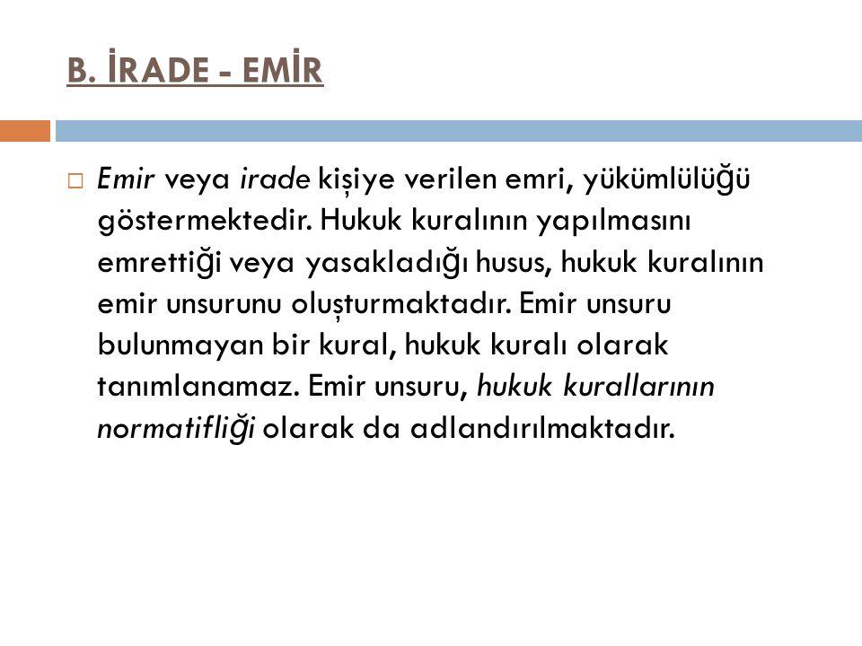 B. İRADE - EMİR