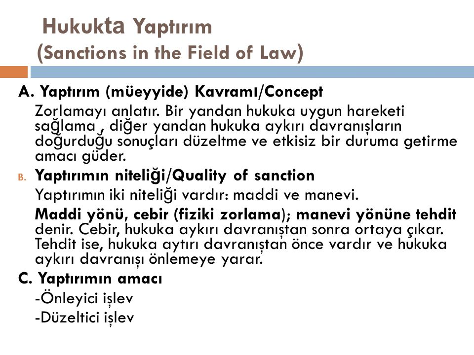 Hukukta Yaptırım (Sanctions in the Field of Law)