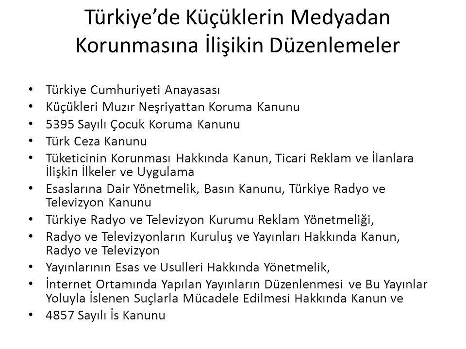 Türkiye'de Küçüklerin Medyadan Korunmasına İlişikin Düzenlemeler