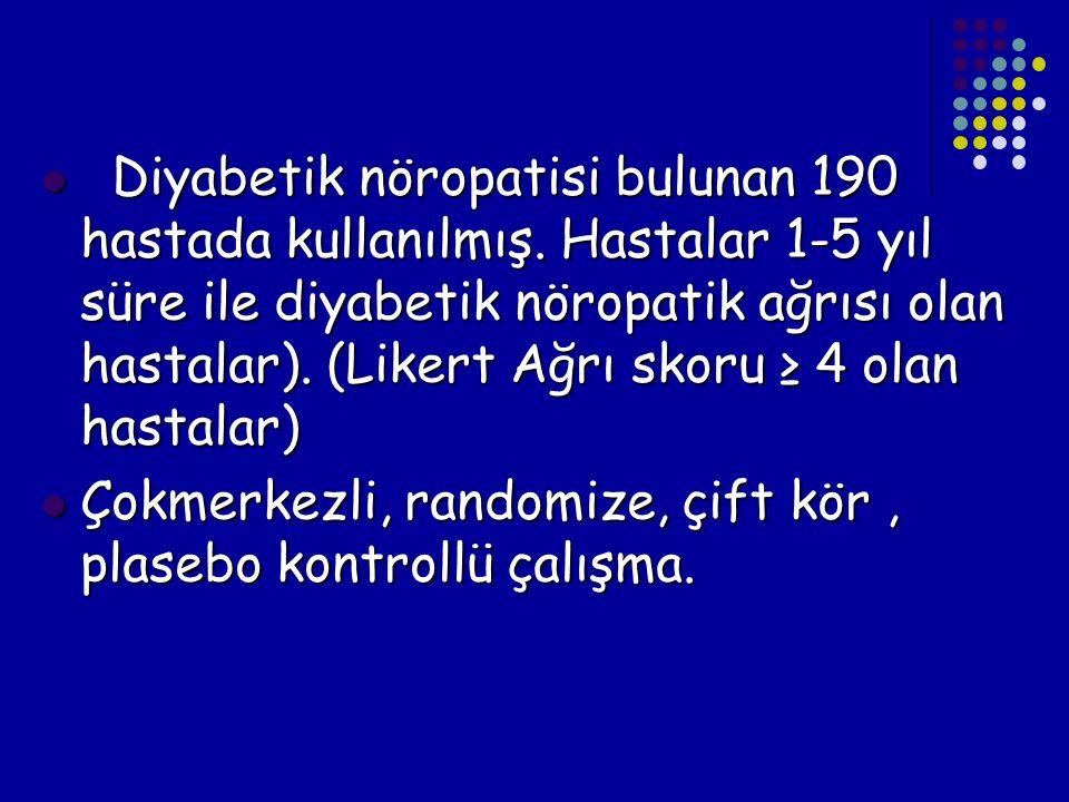 Diyabetik nöropatisi bulunan 190 hastada kullanılmış