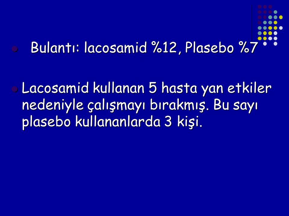 Bulantı: lacosamid %12, Plasebo %7