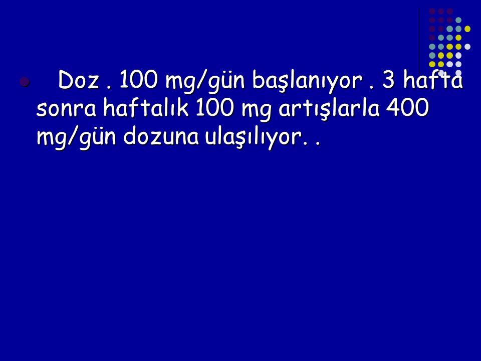 Doz . 100 mg/gün başlanıyor .