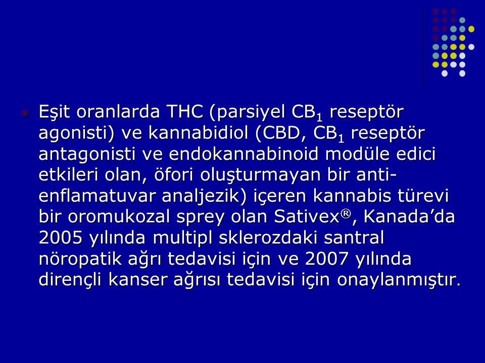 Eşit oranlarda THC (parsiyel CB1 reseptör agonisti) ve kannabidiol (CBD, CB1 reseptör antagonisti ve endokannabinoid modüle edici etkileri olan, öfori oluşturmayan bir anti-enflamatuvar analjezik) içeren kannabis türevi bir oromukozal sprey olan Sativex®, Kanada'da 2005 yılında multipl sklerozdaki santral nöropatik ağrı tedavisi için ve 2007 yılında dirençli kanser ağrısı tedavisi için onaylanmıştır.