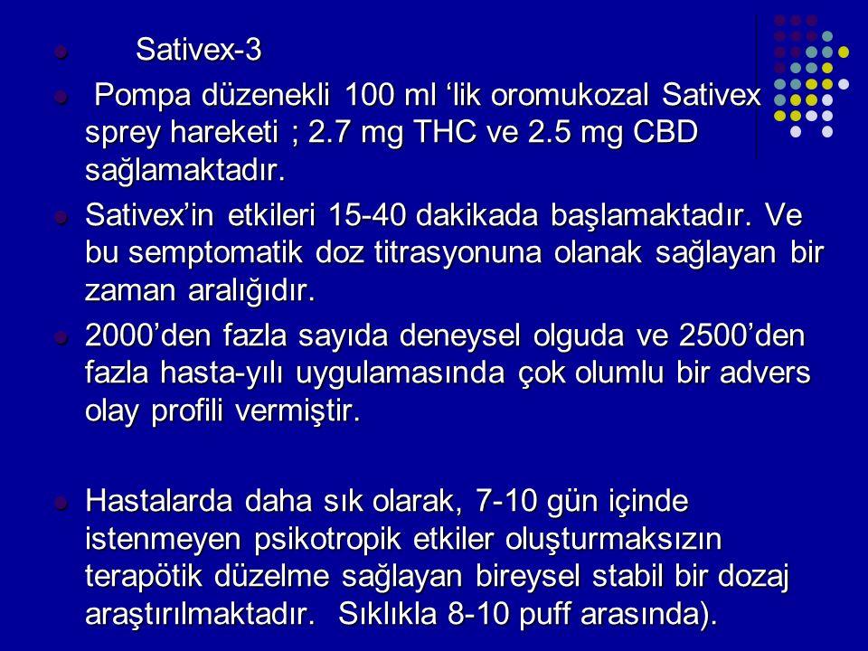 Sativex-3 Pompa düzenekli 100 ml 'lik oromukozal Sativex sprey hareketi ; 2.7 mg THC ve 2.5 mg CBD sağlamaktadır.