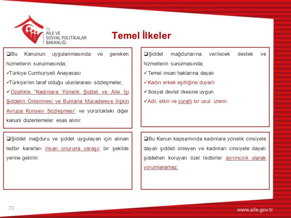 Temel İlkeler Bu Kanunun uygulanmasında ve gereken hizmetlerin sunulmasında; Türkiye Cumhuriyeti Anayasası.