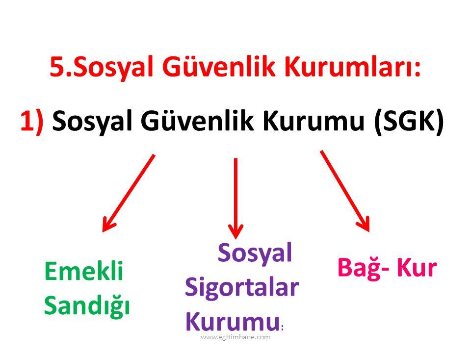 5.Sosyal Güvenlik Kurumları: