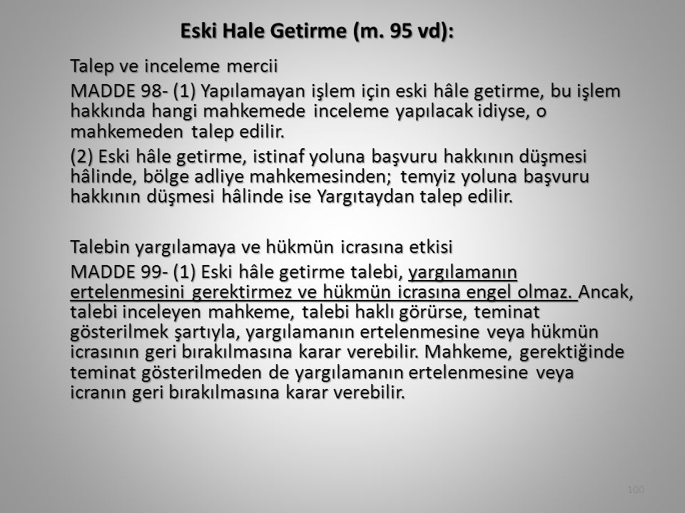Eski Hale Getirme (m. 95 vd):