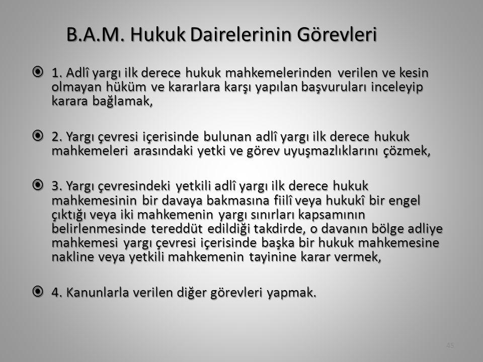 B.A.M. Hukuk Dairelerinin Görevleri