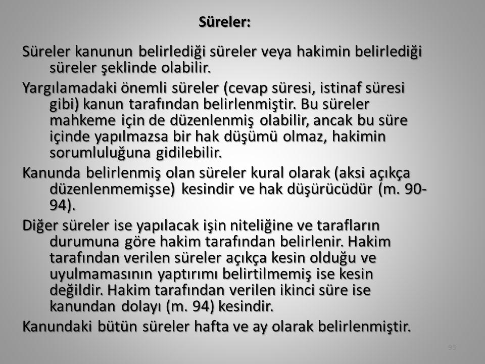 Süreler:
