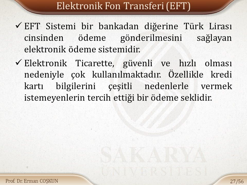 Elektronik Fon Transferi (EFT)