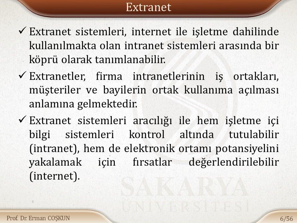 Extranet Extranet sistemleri, internet ile işletme dahilinde kullanılmakta olan intranet sistemleri arasında bir köprü olarak tanımlanabilir.