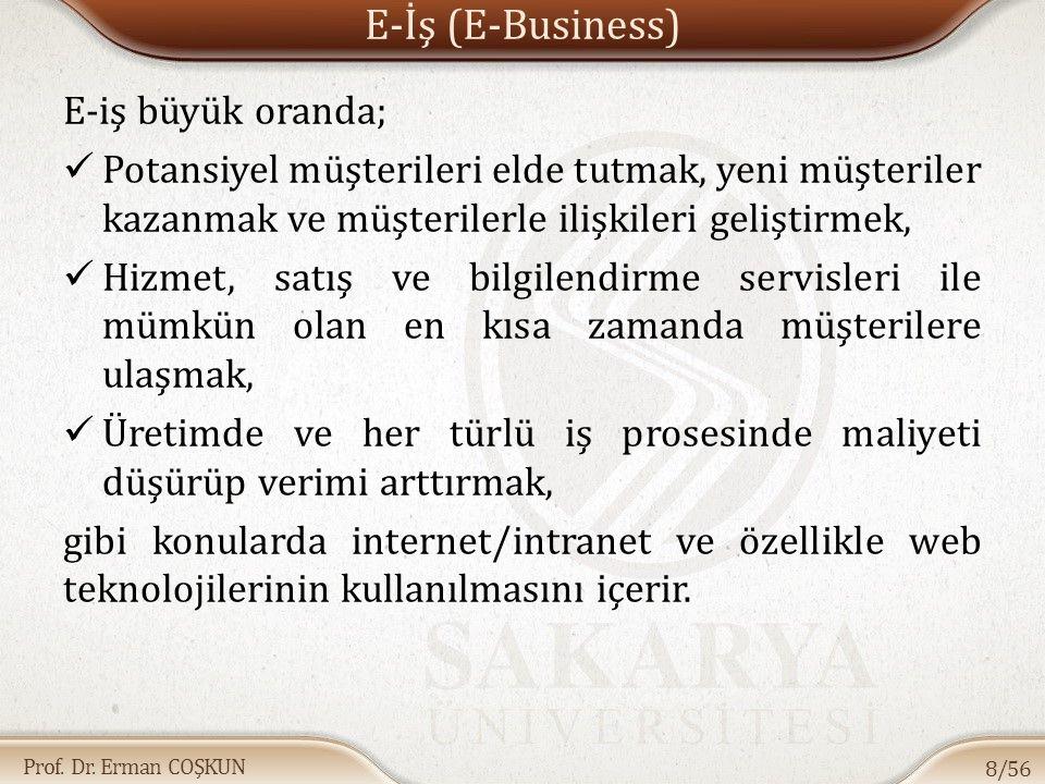 E-İş (E-Business) E-iş büyük oranda;