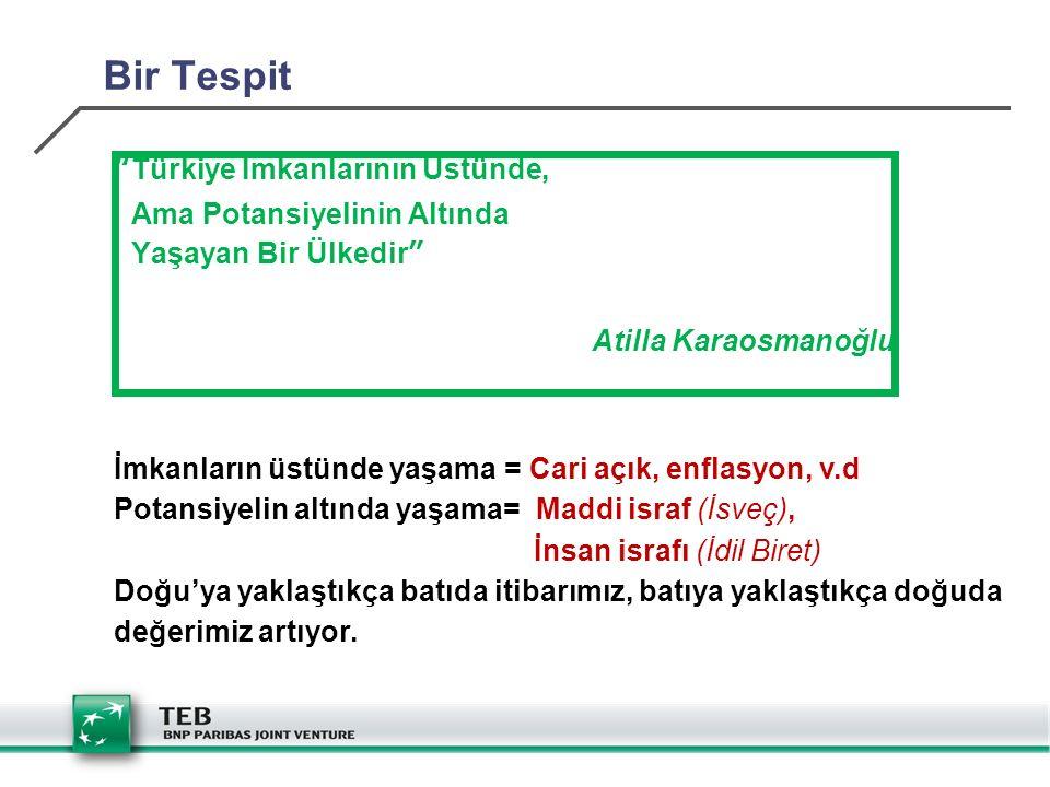 Bir Tespit Türkiye İmkanlarının Üstünde, Ama Potansiyelinin Altında Yaşayan Bir Ülkedir Atilla Karaosmanoğlu