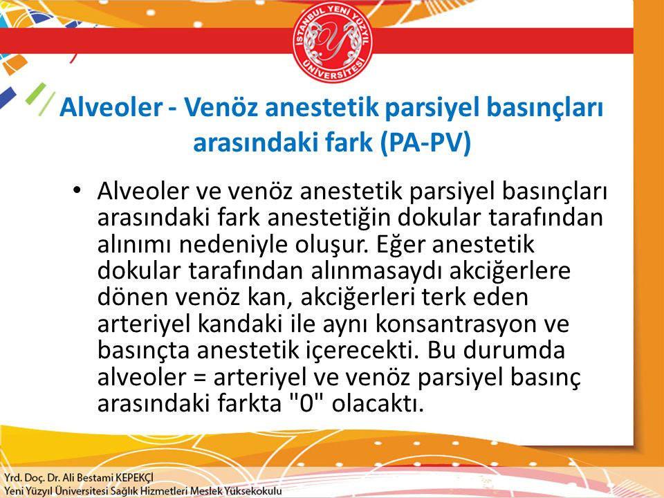 Alveoler - Venöz anestetik parsiyel basınçları arasındaki fark (PA-PV)