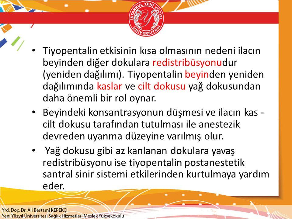 Tiyopentalin etkisinin kısa olmasının nedeni ilacın beyinden diğer dokulara redistribüsyonudur (yeniden dağılımı). Tiyopentalin beyinden yeniden dağılımında kaslar ve cilt dokusu yağ dokusundan daha önemli bir rol oynar.