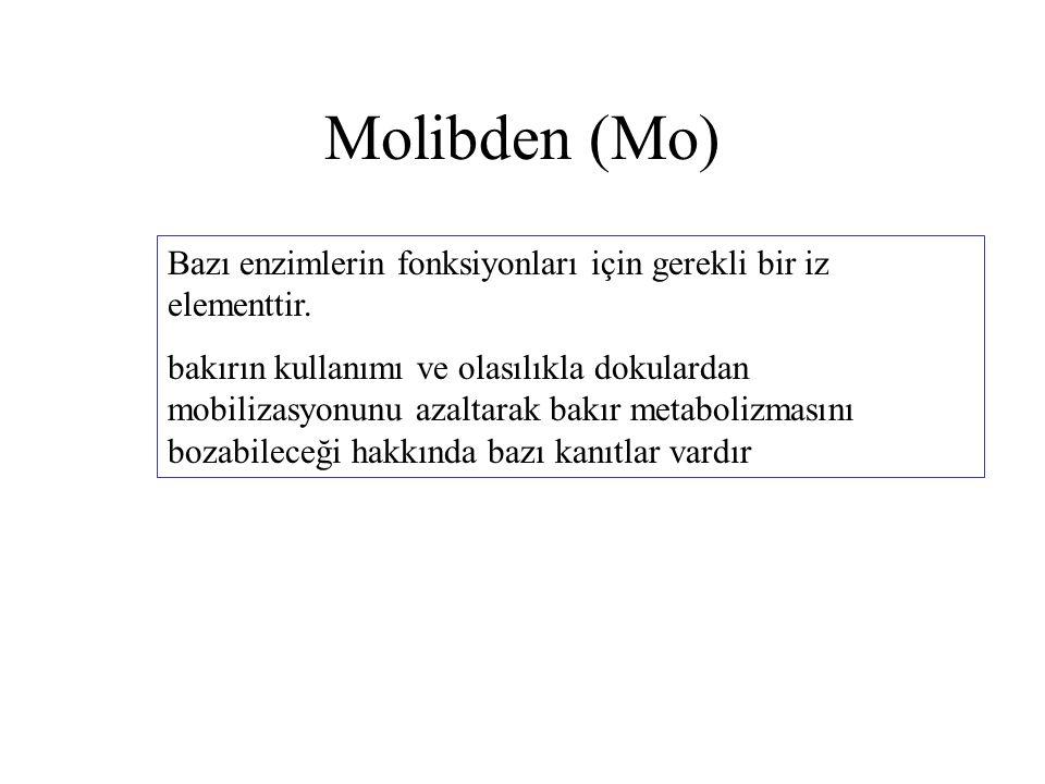 Molibden (Mo) Bazı enzimlerin fonksiyonları için gerekli bir iz elementtir.