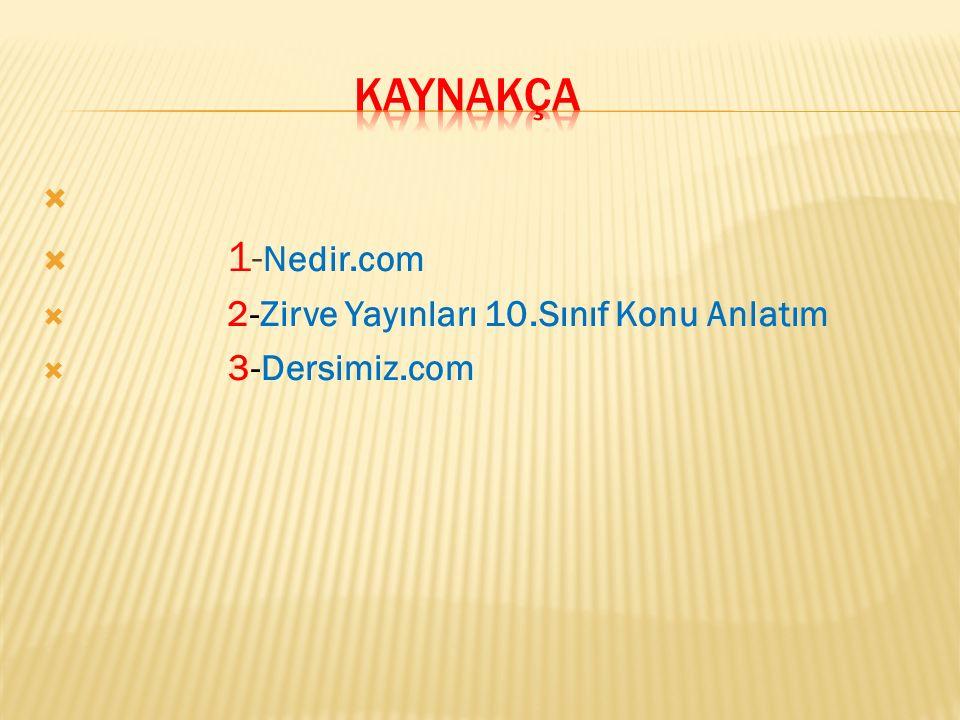 KAYNAKÇA 1-Nedir.com 2-Zirve Yayınları 10.Sınıf Konu Anlatım