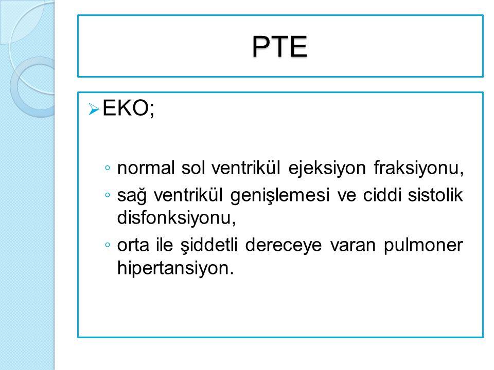 PTE EKO; normal sol ventrikül ejeksiyon fraksiyonu,