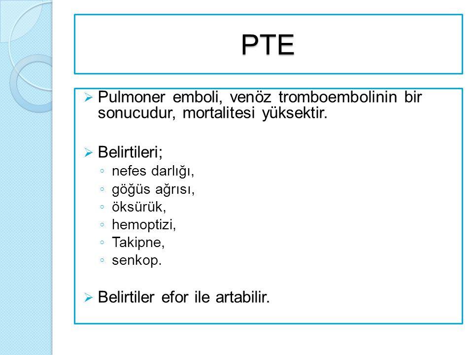 PTE Pulmoner emboli, venöz tromboembolinin bir sonucudur, mortalitesi yüksektir. Belirtileri; nefes darlığı,