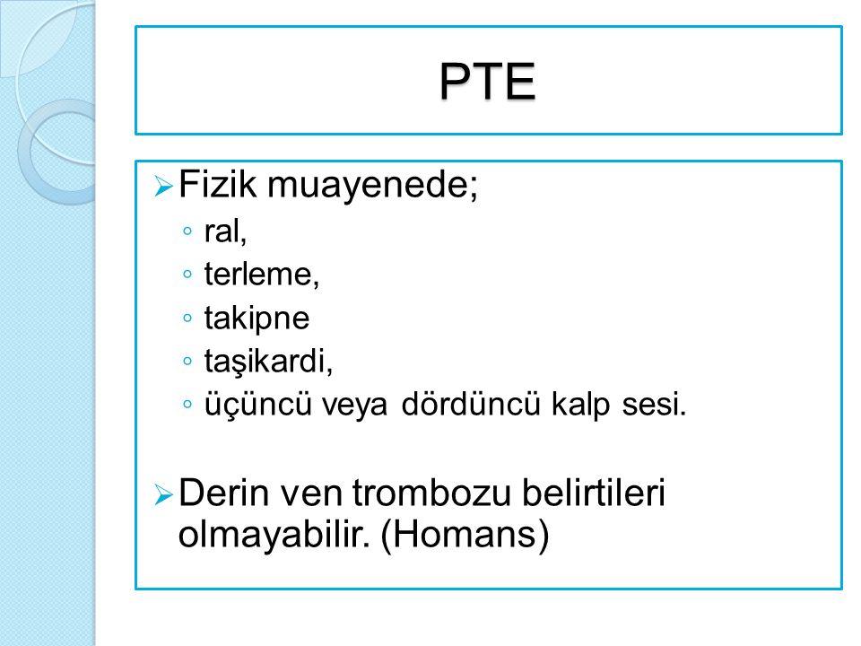 PTE Fizik muayenede; ral, terleme, takipne. taşikardi, üçüncü veya dördüncü kalp sesi.
