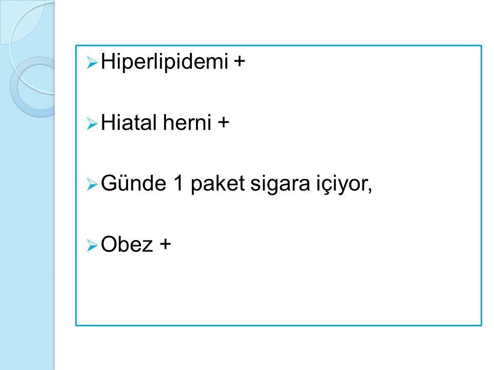 Hiperlipidemi + Hiatal herni + Günde 1 paket sigara içiyor, Obez +