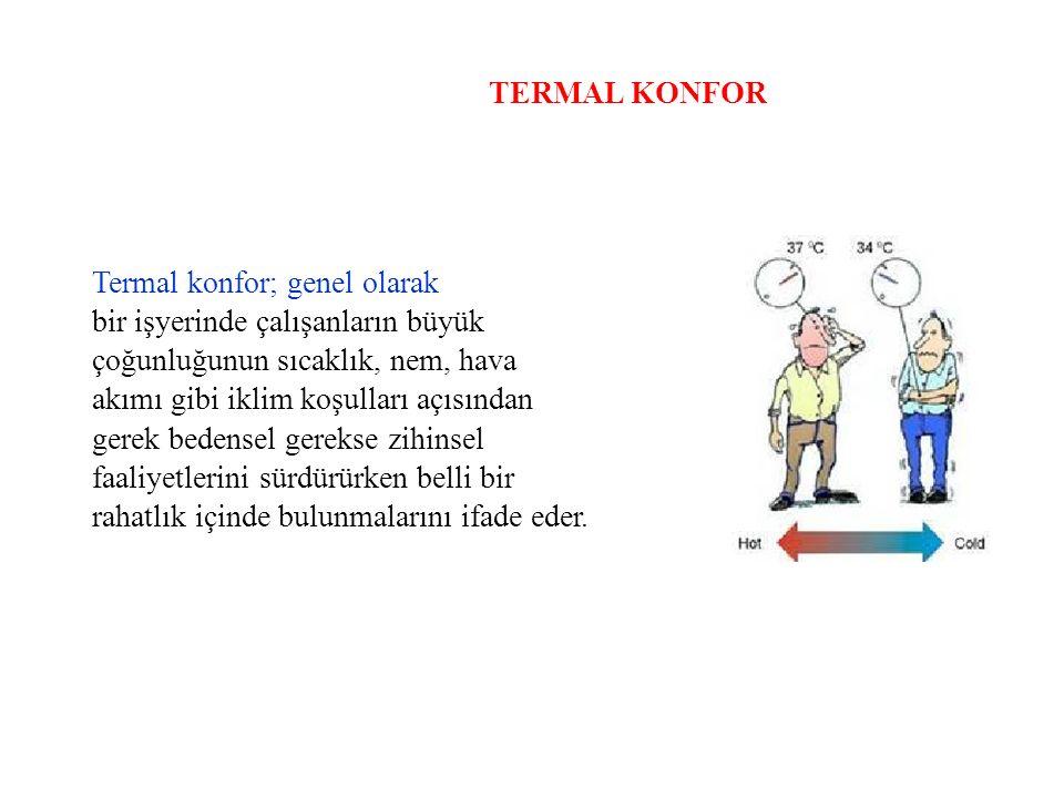 TERMAL KONFOR Termal konfor; genel olarak. bir işyerinde çalışanların büyük. çoğunluğunun sıcaklık, nem, hava.