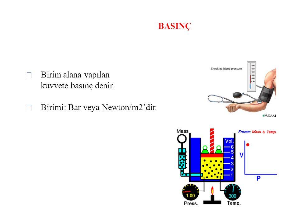 BASINÇ  Birim alana yapılan kuvvete basınç denir.  Birimi: Bar veya Newton/m2'dir.