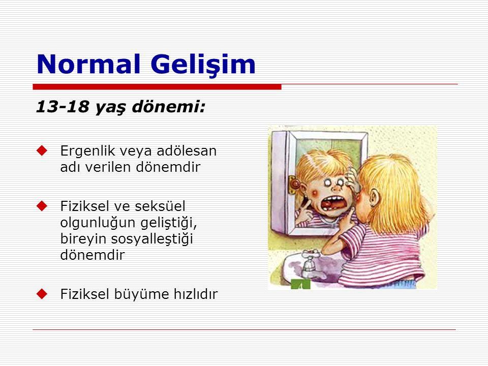 Normal Gelişim 13-18 yaş dönemi: