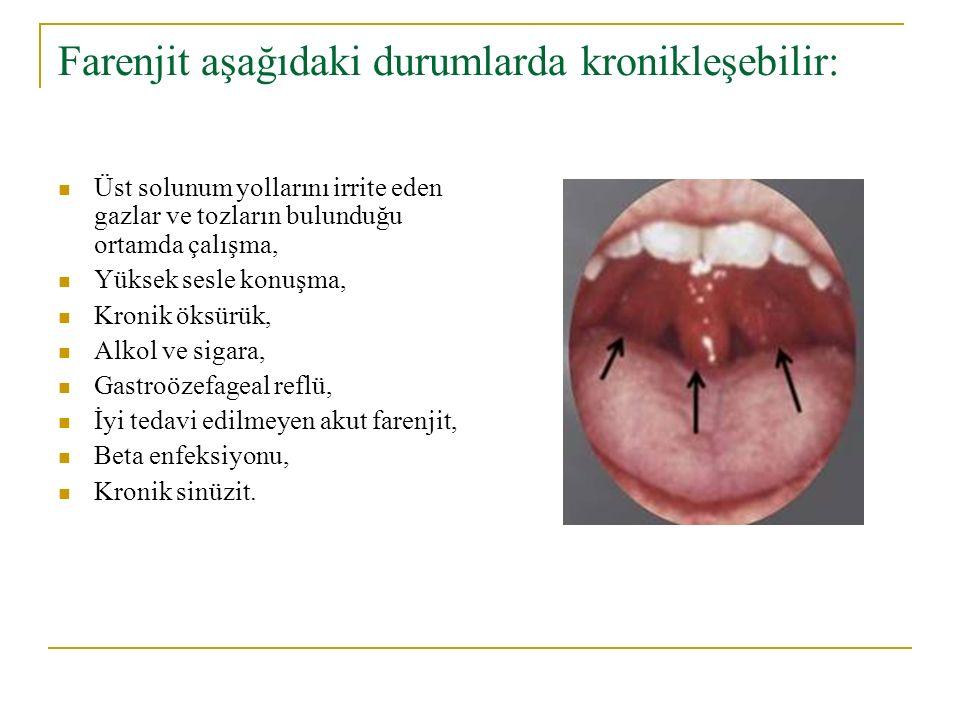 Farenjit aşağıdaki durumlarda kronikleşebilir: