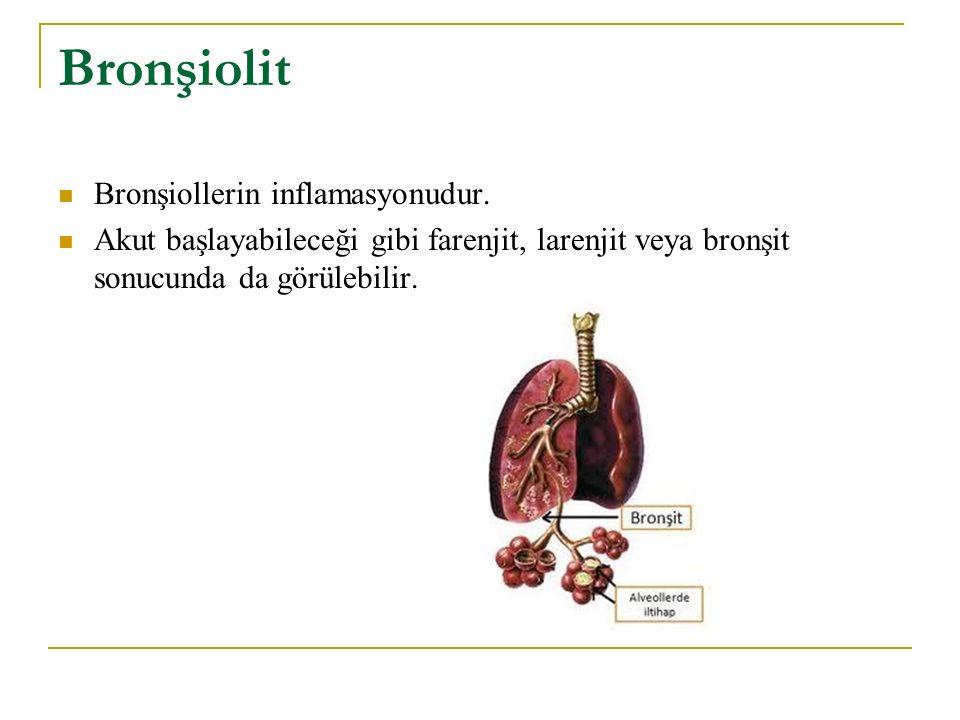 Bronşiolit Bronşiollerin inflamasyonudur.