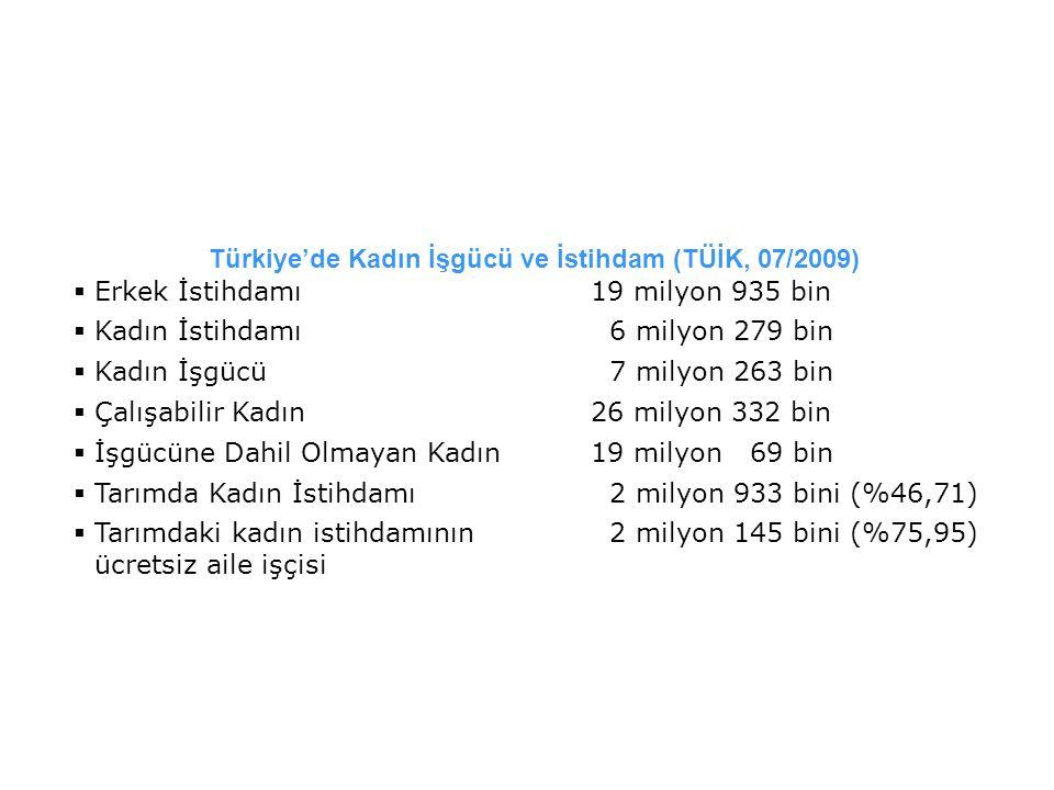 Türkiye'de Kadın İşgücü ve İstihdam (TÜİK, 07/2009)